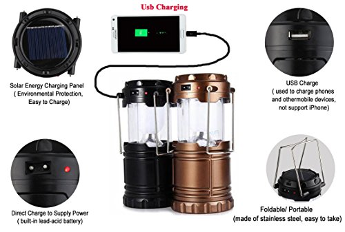 Evana Lightning Multi Purpos Mobile Power Bank LED Solar Emergency Light Lantern + USB Mobile Charger, 3 Power Source Solar, Battery, Lithium Battery, Travel Camping Lantern