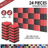 Super Dash Akustische Pyramidenschaumstoff-Schalldämmplatten für das Studio zu Hause, 25x 25x 5cm, 24 Stück, SD1034, rot / schwarz, 25 x 25 x 5 cm