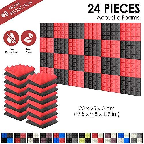 Arrowzoom Super Dash Pacco da 24 di 25 X 25 X 5 cm Piramidali Fonoassorbenti Isolanti Studio Acustici Parete Piastrelle Pannelli SD1034 (Rosso & Nero)
