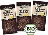 Edelmond Bio Schokolade mit frischem Ingwer. Zartbitter mit geschmackvollen Edelkakaobohnen. Laktosefrei, Vegan & Fair-Trade Kakao. (3 Tafeln)