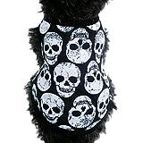 Loveso-Huastier Hunde Kleider Bekleidung Schädel-Weste-T-Shirt Haustier-Welpen kleiner Hund-Katze-Haustier-Kleidung-Kleid-Kleidung (XS, Schwarz)