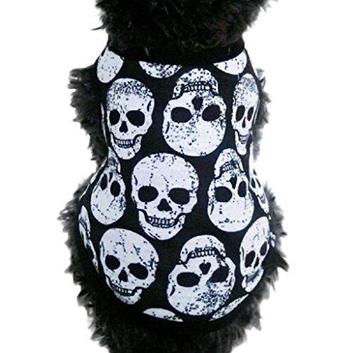 Loveso-Huastier Hunde Kleider Bekleidung Schädel-Weste-T-Shirt Haustier-Welpen kleiner Hund-Katze-Haustier-Kleidung-Kleid-Kleidung (S, Schwarz) (Hund Kostüm Zwei Hunde Transport Box)