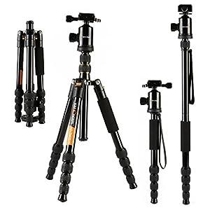 K&F Concept® TM2515 Reise Stativ Tripod Fotostativ Stativ für Canon mit 360° Kugelkopf und Einbeinsativ-Funktion 39-152cm