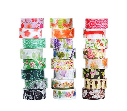 24er Set Washi Tape Dekoband Masking Tape Dekorative Regenbogen Klebeband buntes Klebebänder DIY scrapbook deko