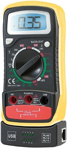 "revolt Spannungsmesser: Multimeter""VA102"" mit Transistor- u. Netzwerkkabel-Tester (Digitales Multimeter)"