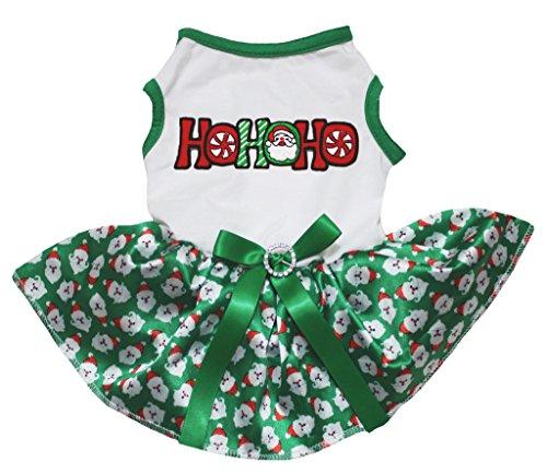 Petitebelle Dog Dress Xmas HOHOHO White Cotton Santa Claus Green Tutu (Medium) (Kelly-grün-chiffon-kleid)
