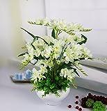 JFWMZyq Künstliche Blumen Freesie Topfpflanzen Home Dekoration Weiß