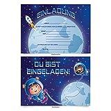 """Einladungskarten (8 Stück) zum Ausfüllen für Kindergeburtstag - """"Astronaut"""""""