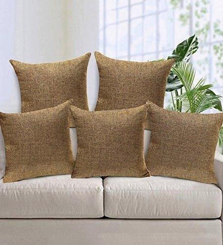 Czar Home Premium Brown Beige Jute Cushion Covers 16x16 Set of 5