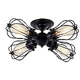 Deckenleuchten Metalldraht Käfig Lampe Semi-Flush Mount Rustikale Decke Light Indoor Home Retro-Beleuchtung (4-Light-Lampe Basis Modern Schwarz)