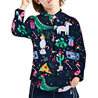 Kids Boys Christmas Button Down Shirts Flamingo Dinosaur Unicorn Xmas Dress Shirts Long Sleeve Top Polo Blouse Cactus Gifts Alpaca Graphic Tee Shirts Size 3t/4t