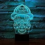 Lampada per vigili del fuoco 3D Illusion Night Light Lamp 7 colori che cambiano Touch USB da tavolo Simpatica decorazione giocattolo regalo