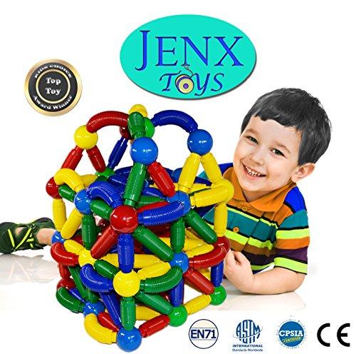 Jenx Toys Jumbo 60 PCS Magnetic Rods and Balls Building Blocks | Award Winning Top Toys | Construction Stacking Building Set (60)