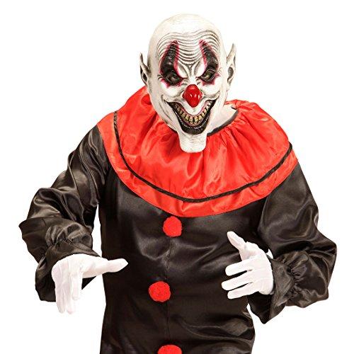 NET TOYS Lachende Horror Clown Maske Gruselige Clownsmaske Clownmaske Narr Latexmaske Harlekin Halloweenmaske Horrormaske ES Halloween Kostüm - Harlekin Narr Clown Kostüm