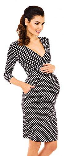 Zeta Ville - Maternité - robe de grossesse à pois - manches 3/4 - femme - 019c Noir à pois