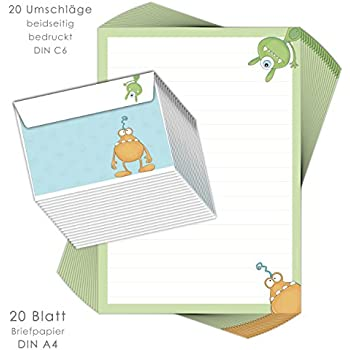 Eulen Briefpapier Set für Kinder 25 Blatt Format DIN A5 liniert