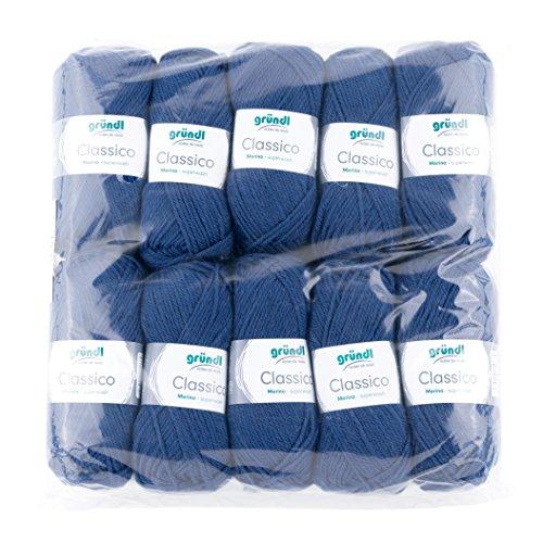 Gründl 3488-12classico, confezione risparmio 10gomitoli da 50g a mano filati per maglieria, 50% lana vergine (merino superwash), 50% poliacrilico, marine, 30x 32x 8cm