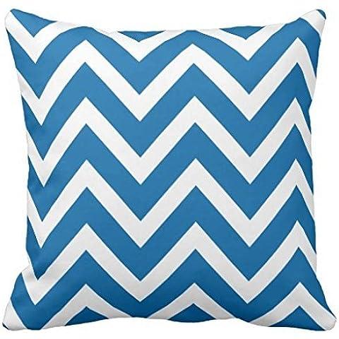 Cobalt Blue White Chevron Zigzag Stripes pillowcase