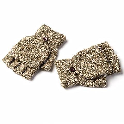WAWZJ Gloves Flip Finger Mittens Men'S Winter Wool Semi Finger Gloves,Army Green