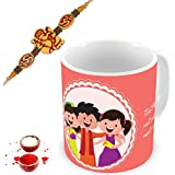 Illuminati Gifts Set Of Auspicious Lord Ganesha Rakhi & Brother Sister Strong Bond Beautiful Quote Printed Multicolor Ceramic Coffee Mug - 325 Ml With Roli Chawal Tilak Pack Rakhi Raksha Bandhan Gift Combo For Brother Bhaiya Bhai Dada Veer Ji