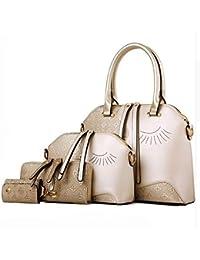 Di Grazia Women's 4 In 1 Combo Of Handbag, Satchel, Sling Bag & Wrist Pouch (Gold, Gold-Eye-4in1-Combo-Handbag)