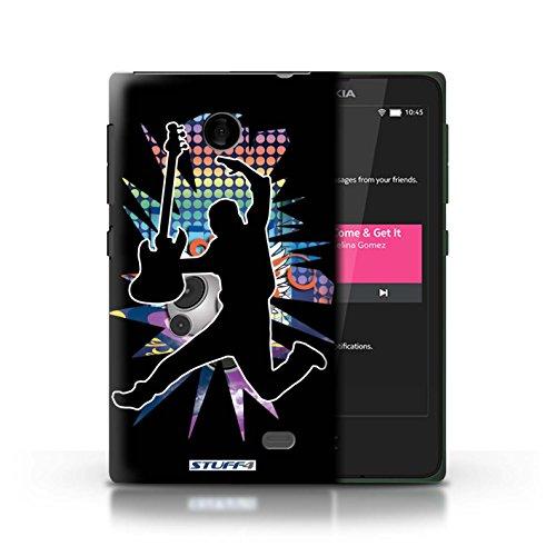 Kobalt® Imprimé Etui / Coque pour Nokia X / Chanteur Noir conception / Série Rock Star Pose Saut Noir