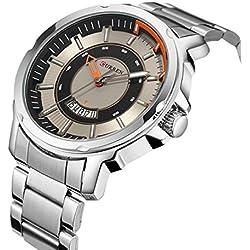 Sport Men Quartz Watch Luxury Alloy Strap Calendar Casual Wristwatch,Silver-Black