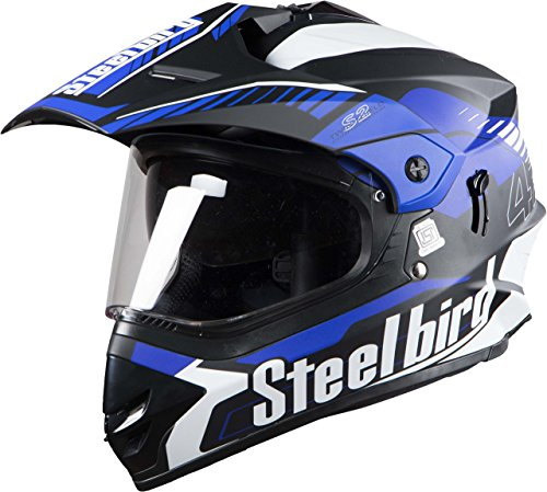 Steelbird Off Road Racing SBH-42 Helmet with Plain Visor (Matt Black and Blue, L)