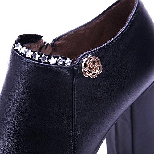 VogueZone009 Damen Reißverschluss Hoher Absatz Pu Leder Eingelegt Rund Zehe Pumps Schuhe Schwarz
