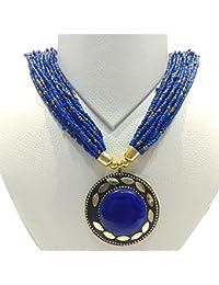 Ratnatraya Blue Stone Heavy Pendant Long Multilayered Blue Beads Necklace   Traditional Stylish Ethnic Jewellery...