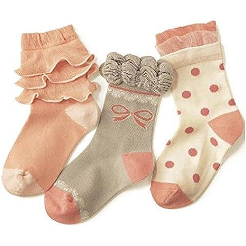 Lucky Will 3pares bebé niños niña Punta volantes Calcetines Calcetines para bebé, 3-4 Jahre