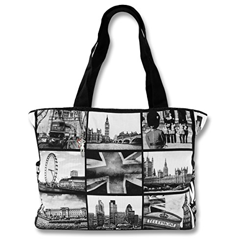SilberDream, Borsa tote donna schwarz-weiß (London City)