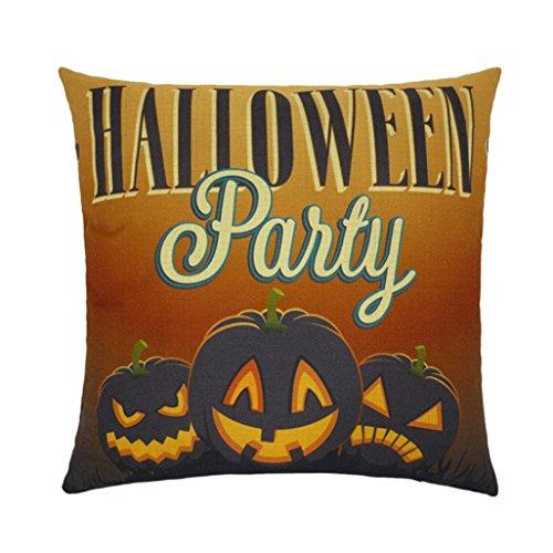 Halloween Kissenbezüge,Gusspower Kissen Kissenhülle Leinen Kissenbezug für Halloween Cartoon Personalisiert Geschenk 45x45cm (B)