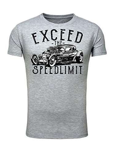 Legendary Items Herren T-Shirt Hot Rod Road Rockabilly Retro Car Männer T Shirt Slim Fit Grau
