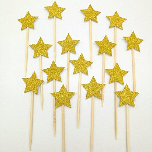 dooxoo Gold Glitter Sterne Cupcake Topper Mädchen ersten Geburtstag Party Twinkle Twinkle Little Star Pink und Gold Party Supplies Boy 1. Geburtstag - Gold (Party Star Supplies)