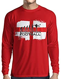lepni.me Camiseta de Manga Larga para Hombre La evolución de fútbol -  Inglaterra 817877bfbc08d