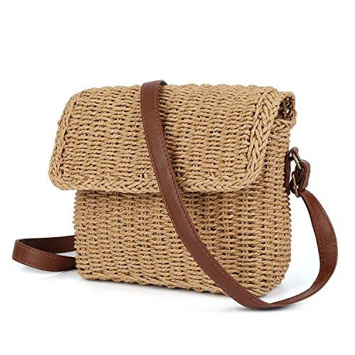 Bolso de verano de mimbre artesanal trenzado con hebillas magnéticas bolsa de playa