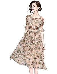083f55484c59 LAI MENG Damen Elegant Midikleid mit Blumenmuster Sommer Kleid Strandkleid  Boho Casual Lang Kleid