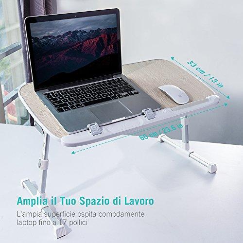 Tavolino Pieghevole Da Letto.Tavolo Regolabile Da Letto Per Laptop Taotronics Tavolino
