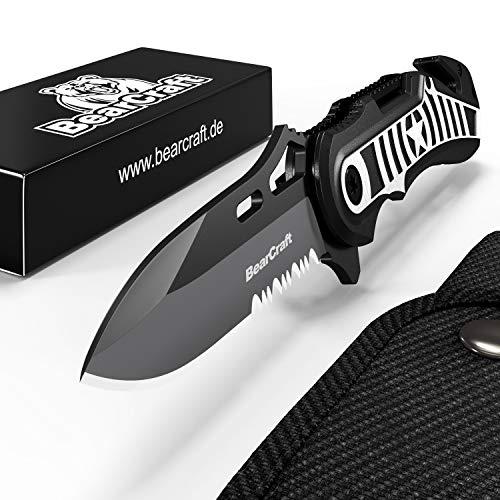 BearCraft Klappmesser in exklusivem Design | Outdoor Survival Messer mit Wellenschliff |...