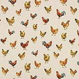 Fabulous Fabrics Halbpanama Hühner – Natur — Meterware