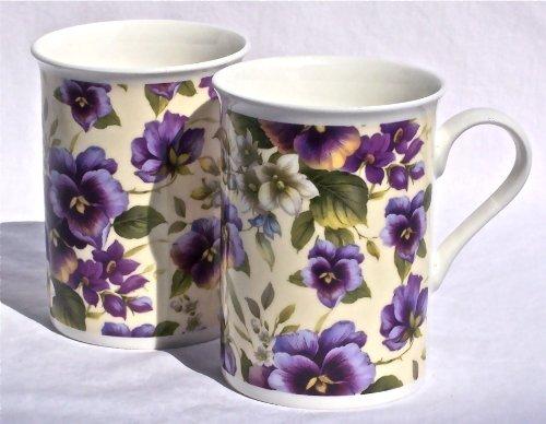 Pansy Chintz (Fine English Bone China Mugs - Pansy Basket Chintz on Pale Yellow - Set of Two by Heraldic Pottery, England)