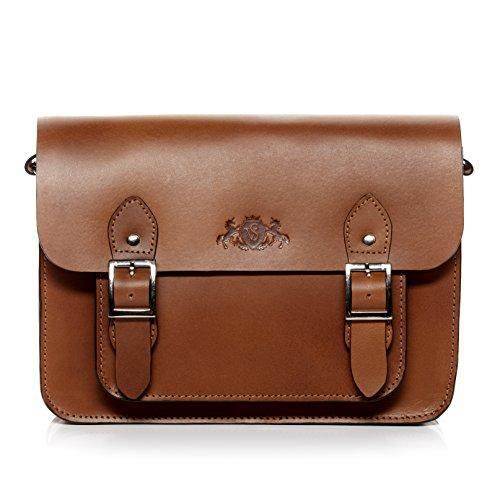 SID & VAIN Satchel Leder Tessa College-Tasche Damen Umhängetasche echte Ledertasche Damentasche braun