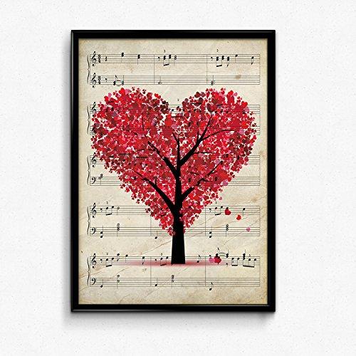 """Posterblatt """"Baum Herz"""" Vintage Noten. Illustration auf alten Partituren. Perfekt für Musikliebhaber Poster auf Musik in Papier 250 Gramm von hoher Qualität. Bild zu Bild. Ideal zum Dekorieren Ihres Wohnzimmers, Büros, Schlafzimmers ... A4"""