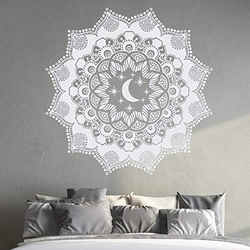 Wandtattoo Mandala Vinyl Wandaufkleber Mond Und Sterne Wandbild Home Schlafzimmer Dekoration Tür Fenster Yoga Aufkleber A13 57 * 57 CM