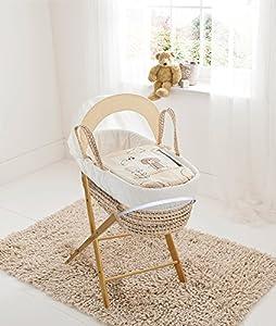 Beary Nice Cream Palm Moses Basket & Folding Stand