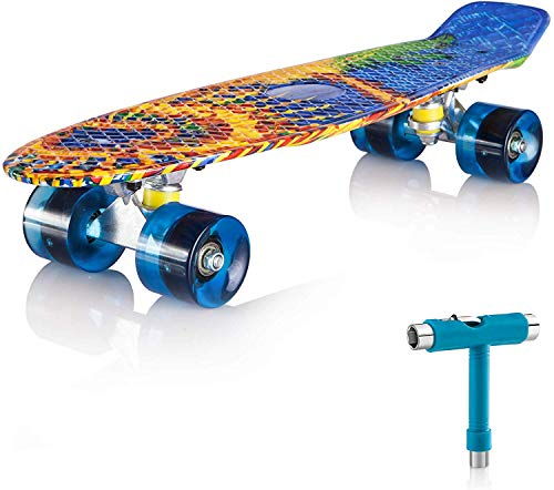 """Newdora Skateboard 22"""" kompletter Mini Cruiser Komplettboard mit Buntem LED-Lichtrad für Kinder, Jungs, Mädchen(Sun,22)"""