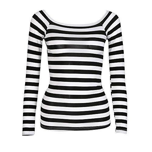 Streifen Bluse,Slim Rundkragen Langarm Gestreiftes Hemd T Shirt Oberteile Tops(XX-Large,Schwarz) ()