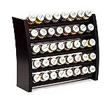GALDBIS Gewürzregal, Küchenregal aus Holz für Gewürze und Kräuter, 40 Gläser, Gald – 40F-8x5 venge matt