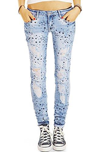 bestyledberlin Damen Karotten-Jeans, Extrem aufgerissene Hüftjeans, All-Over Stern-Print j21g 36/S